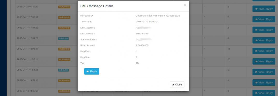 SMS Log example