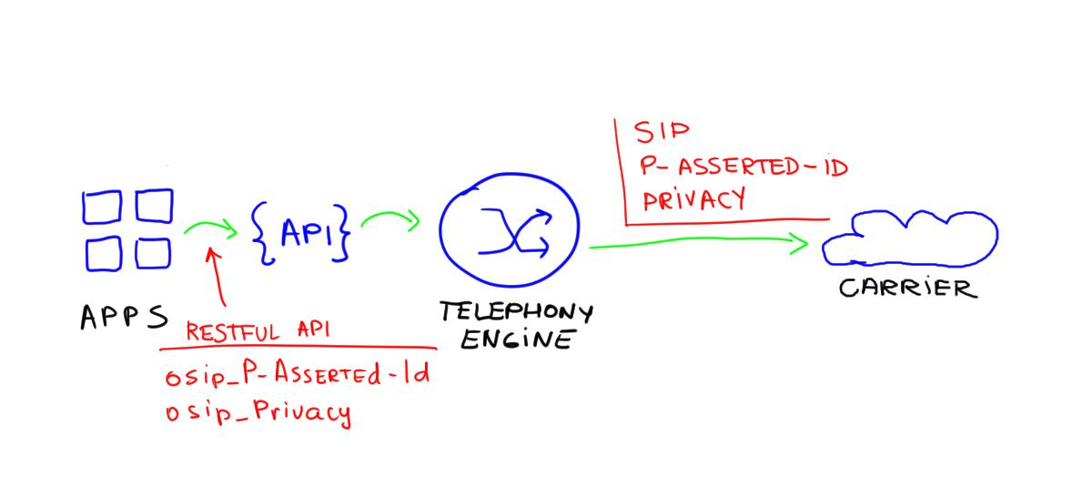 API call with SIP privacy headers